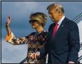 ?? MANUEL BALCE CENETA — AP ?? Former President Donald Trump and Melania Trump wave as they land in West Palm Beach, Fla., on Wednesday.