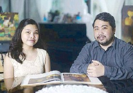 ??  ?? Miguel Ongpin, a great-great-grandson of Luna's brother Jose Luna, with his daughter Cheska