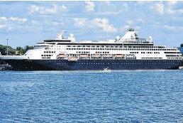 ?? CHRISTOPHER CONNORS • CAPE BRETON POST DAVID JALA, ?? The former Holland America cruise ship Maasdam — now called the MS Aegean Myth — is seen in Sydney harbour in this file photo. Port officials in Nova Scotia are welcoming a recent announcement by the federal government to allow cruise ships back in Canada beginning in November.