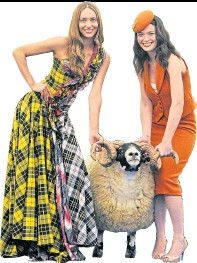 ??  ?? Models Pamela Beattie and Jennifer Reoch with ram at Royal Highland Show