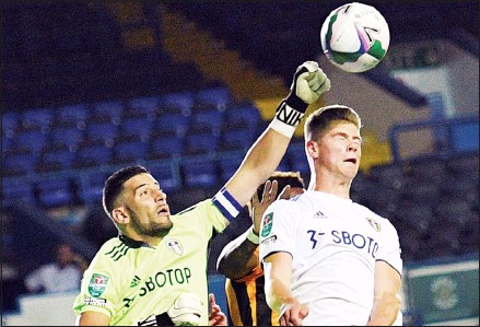 ??  ?? Leeds United goalkeeper Kiko Casilla clears the ball during the English League Cup soccer match between Leeds United and Hull in Leeds, England on Sept 16. Second-string Leeds team lost a penalty shootout 8-9 to third-tier Hull after a 1-1 draw in regulation. (AP)