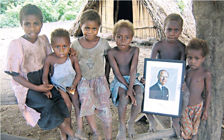 ?? – and sent back a photograph of himself holding it ?? Among the most prized possessions of a tribe on the island of Tanna, Vanuatu, is a signed portrait of the Duke of Edinburgh, which he sent after a state visit in 1974. He was given a traditional slaughtering club in return