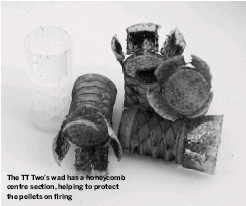 ??  ?? The TT Two's wad has a honeycomb centre section, helping to protect the pellets on firing