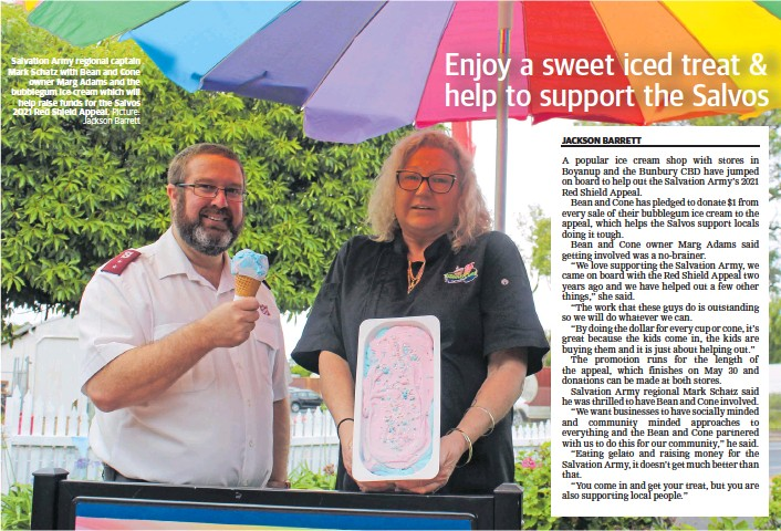 ?? Picture: Jackson Barrett ?? Salvation Army regional captain Mark Schatz with Bean and Cone owner Marg Adams and the bubblegum ice cream which will help raise funds for the Salvos 2021 Red Shield Appeal.