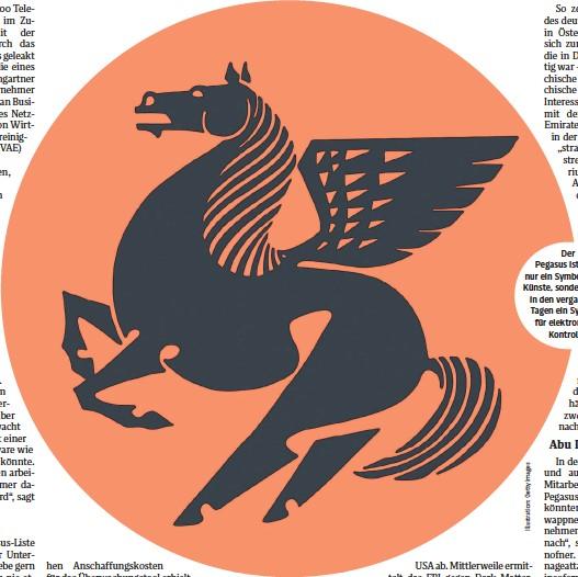 ??  ?? Der Pegasus ist nicht nur ein Symbol für die Künste, sondern wurde in den vergangenen Tagen ein Synonym für elektronische Kontrolle.