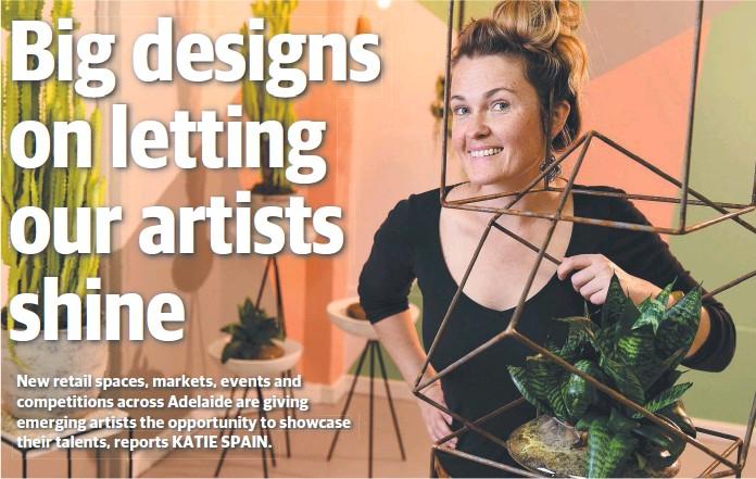 ?? Picture: TOM HUNTLEY ?? IN THE FRAME: Semaphore artist Joslin Koolen makes geometric-shaped plant holders and sculptures and, below, illustrator Doris Chang.