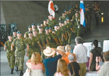?? PAT MCGRATH, THE OTTAWA CITIZEN ?? The Canadian War Museum hosted an official Nijmegen Marchers' sendoff Wednesday, for the formal departure for the Netherlands of the Canadian Forces contingent that will participate this year in the Nijmegen Marches. The Marches is a prestigious...
