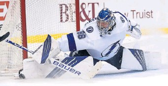 ?? AP FIle ?? GAME ON: Andrei Vasilevskiy and the Tampa Bay Lightning host the New York Islanders this afternoon in the opening game of the semifinals.