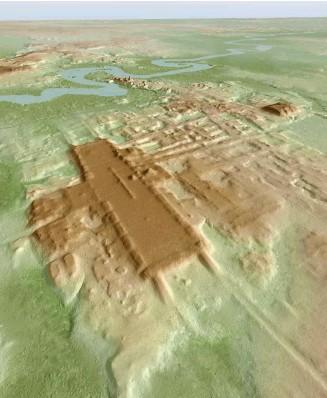 ?? Abb.: Takeshi Inomata ?? Relief des Ruinenfelds von Aguada Fénix im Osten Mexikos