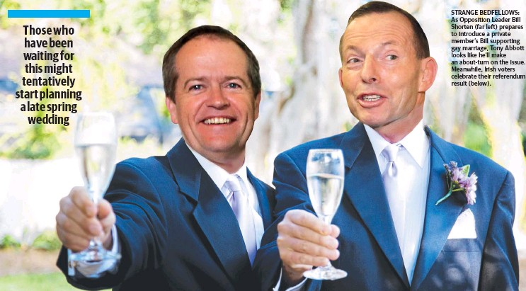 ??  ?? STRANGE BEDFELLOWS: As Opposition Leader Bill Shorten (far left) prepares to introduce a private member's Bill supporting gay marriage, Tony Abbott looks like he'll make an about-turn on the issue. Meanwhile, Irish voters celebrate their referendum...