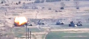 ?? Armenian Defence Ministry / HANDOUT / AFP via Gett y Images ?? A video image allegedly shows destruction of Azeri military vehicles by Armenian separatists in Nagorno-karabakh, Azerbaijan.