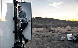 """??  ?? SPOCK VEGAS, aka """"Star Trek"""" impersonator Paul Forest, mills around the Mars-like encampment, which drew an eclectic crowd of about 180."""
