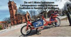??  ?? Die mit E-Motor betriebenen Lastenpedelecs stehen in mehreren Stadtteilen in Hamburg zur Verfügung.