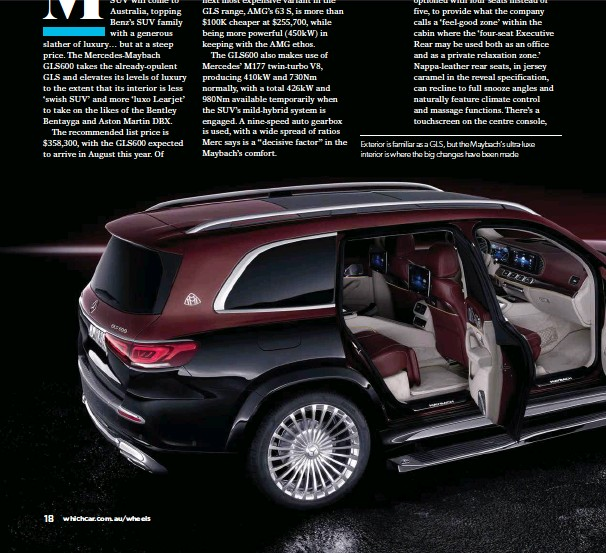??  ?? Exterior is familiar as a GLS, but the Maybach's ultra-luxe interior is where the big changes have been made