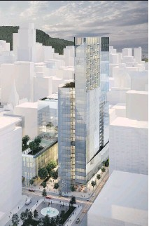 ??  ?? This artist's rendering provides an aerial view of the 40-storey mixed-use Humaniti project being built in Montreal's Quartier International, at Viger and Bleury Sts.