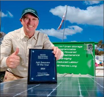 ??  ?? Justin Dunn, Temora, winner of the 2018 Henty Agri-Innovator of the Year Award with The Shepherd auto sheep feeder.