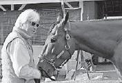 ?? GARRY JONES/AP ?? Trainer Bob Baffert, left, feeds Kentucky Derby winner American Pharoah a carrot at Churchill Downs on Sunday.
