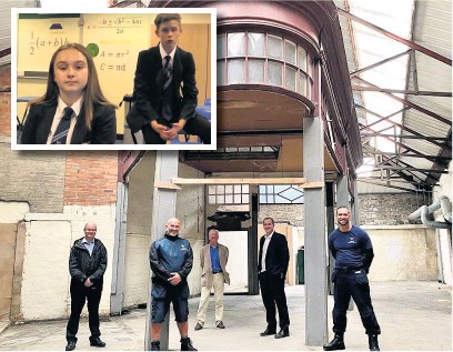 ??  ?? Rossendale MP Jake Berry was invited by the new owners to visit the Arcade building in Waterfoot while (inset) Haslingden High School's Year 10 students Alfie Fletcher and Ella Fielding filmed an educational video for back to school