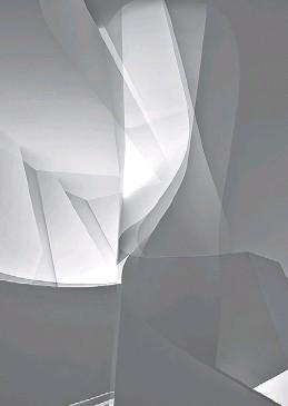 """??  ?? De la serie """"La piel translúcida"""". Toma e impresión sobre muselina, 22 x 150 cm. N° 4 de 8 partes, 2015 (izq). Sin fin. Instalación en vidrio y metal, 230 x 600 x 350 cm aproximadamente, 2015 (abajo, derecha). De la serie """"La lógica de las formas""""...."""