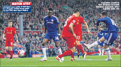 ?? Picture: ANDREW YATES ?? HAZARD LIGHTS: The Belgian forward finishes superbly after a mazy solo run