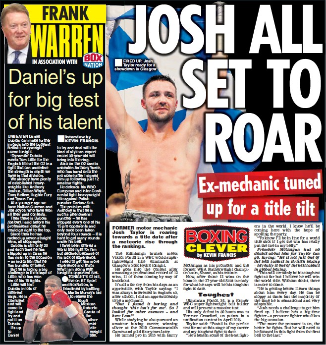 FIRED UP: Josh Taylor ready for a showdown in Glasgow