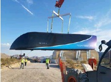 ?? AFP/GETTY IMAGES ?? The prototype of a Hyperloop One Pod at a facility in the desert near Las Vegas. The Toronto-Montreal corridor could eventually use the technology.