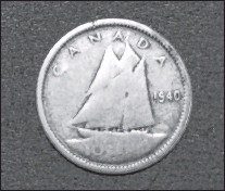 ?? RUSSELL WANGERSKY/SALTWIRE NETWORK ?? A 77-year-old silver Canadian dime.