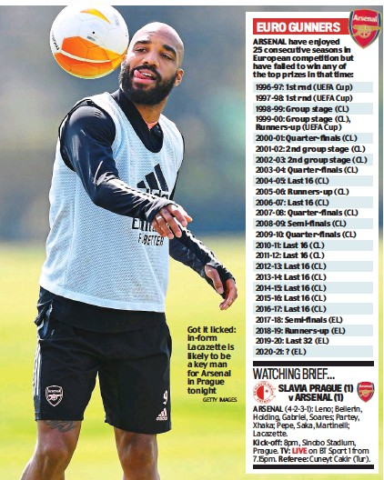 ?? GETTY IMAGES ?? Got it licked: in-form Lacazette is likely to be a key man for Arsenal in Prague tonight