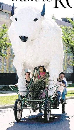 ?? Mikael Kjellström, Calgary Herald ?? From left, Xstine Cook, Maezy Dennie, 4, and Gavin Cosgrove try out the finished white buffalo float on Wednesday afternoon in the Ramsey community, in preparation for Friday's Stampede parade.