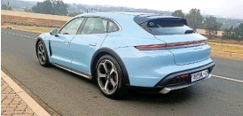 ?? ?? An extended sportback-style roof gives the Cross Turismo not only a more athletic look than the Taycan sedan but also better interior space.