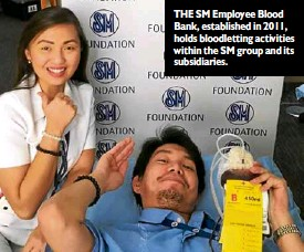 ??  ?? THE SMEmployee Blood Bank, established in 2011, holds bloodletting activities within the SMgroup and its subsidiaries.