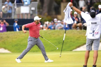 ??  ?? LEFT: Jon Rahm punches the air in celebration after holing the winning putt on the 72nd hole. RIGHT: Rolex Testimonee Jon Rahm is the first Spaniard to lift the U.S. Open trophy