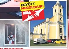 ??  ?? Az első próbálkozás Virágvasárnapi szentmise a plébánia ablakából. Az a kísérlet nem jött be, az autós mise (jobbra) sokkal népszerűbb volt