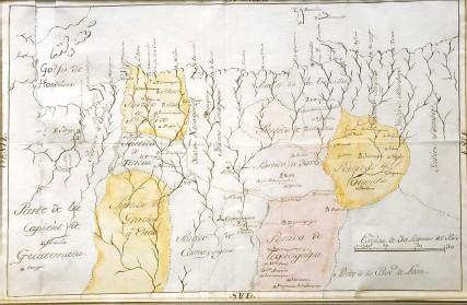 ?? Foto: cortesía de la académica Coralia Anchisi de Rodríguez ?? Mapa del siglo XVIII de territorio hondureño y guatemalteco que recorrió el Hermano Pedro desde Trujillo para dirigirse a Santiago.