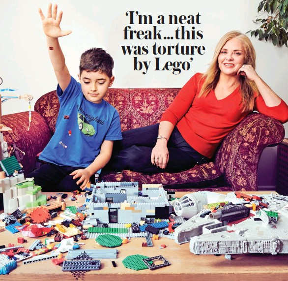 ??  ?? Building up stress: Tanoa, eight, takes over the living room with his Lego collection as mum Rachel tries to bite her tongue