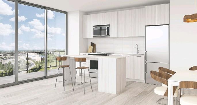 ?? PHOTOS COURTESY OF THE DAVIS RESIDENCES ?? Kitchens at The Davis feature custom- designed cabinetry, ceramic backsplashes and quartz countertops.