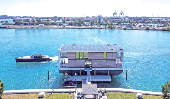 ?? — AFP photo ?? The Arkup luxury floating villa is docked at Star Island in Miami Beach, Florida.