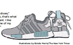 """?? Illustrations by Estelle Morris/The New York Times ?? """"I have tons and tons of shoes,"""" Embiid says. """"The NMDs, that's what I wear a lot at the moment. I like them, that's probably one of my favorite pairs of Adidas."""""""