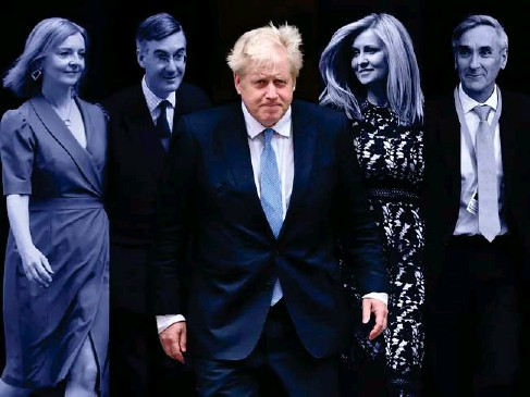 ?? (PA/AP/EPA/Getty) ?? Po l itica l infighting: Truss, Rees - Mogg, Johnson, McVey and Redwood