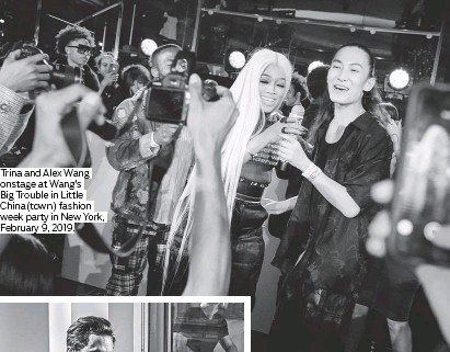 ??  ?? Trina and Alex Wang onstage at Wang's Big Trouble in Little China(town) fashion week party in New York, February 9, 2019.