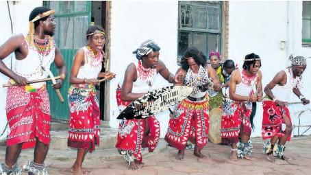 ??  ?? Izangoma dancers showcase their unique dance sequence