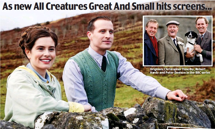 ??  ?? Originals: Christopher Timothy, Robert Hardy and Peter Davison in the BBC series New stars: Rachel Shenton as Helen Alderson and Nicholas Ralph as James Herriot in the six-part Channel 5 remake