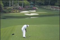 ?? AP PHOTO ?? Hideki Matsuyama tees off on the 12th hole during Saturday's third round at Augusta.