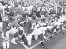 ?? BRIAN SPURLOCK/USA TODAY SPORTS ?? The NFL wants the focus off protests during the anthem and back on the game on the field, but its new policy offers no guarantees.