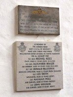 ??  ?? The memorial plaque to Michael and his crew inside St Mary's (above) and a newspaper report on his death (right).