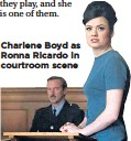 ??  ?? Charlene Boyd as Ronna Ricardo in courtroom scene