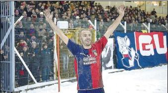 ??  ?? Simbolo indiscusso Sandreani è stato anche tra i punti di forza del Gubbio che riuscì nell'impresa di conquistare la B