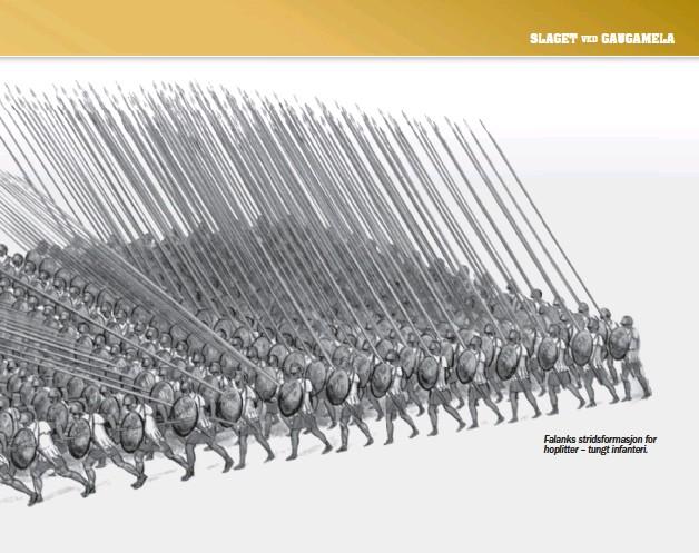 ??  ?? Falanks stridsformasjon for hoplitter – tungt infanteri.