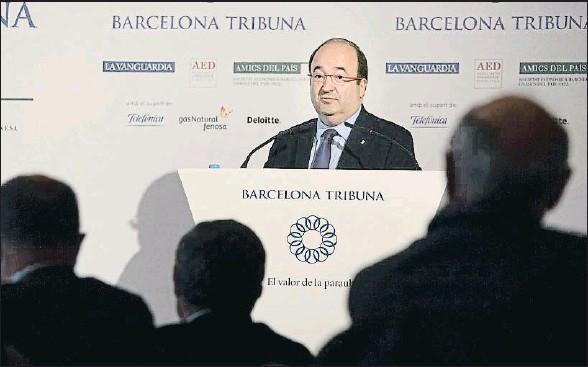 ?? ANA JIMÉNEZ ?? Miquel Iceta durante su intervención ayer en el Barcelona Tribuna