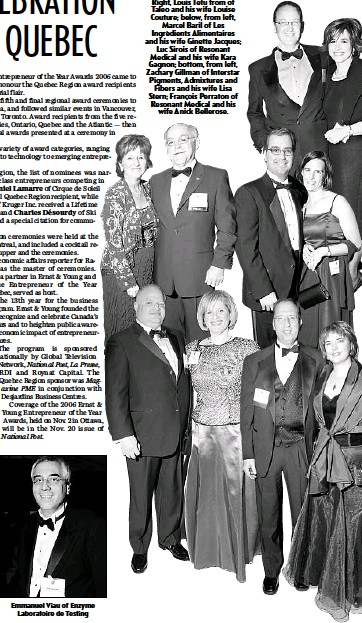 ??  ?? Right, Louis Tetu from of Taleo and his wife Louise Couture; below, from left, Marcel Baril of Les Ingrédients Alimentaires and his wife Ginette Jacques; Luc Sirois of Resonant Medical and his wife Kara Gagnon; bottom, from left, Zachary Gillman of...